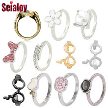 SEIALOY Silver Plated Red Heart Shape Bows Rings For Women Engagement Wedding Charm Jewelry Pandora Ring Gifts(China)