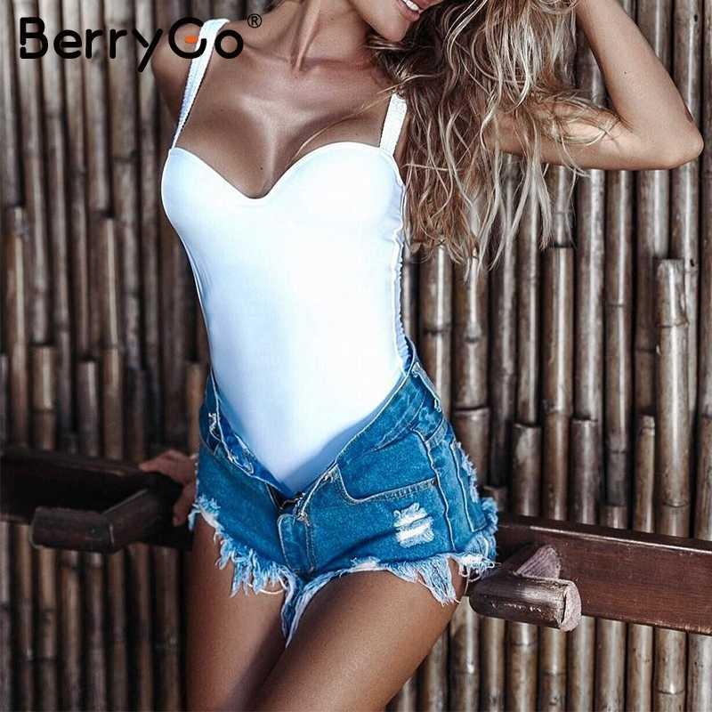 Affogatoo глубоким v-образным вырезом sexy Мягкий bodycon белый женский элегантный комбинезон летний пляж черный комбинезон Повседневное короткие комбинезоны