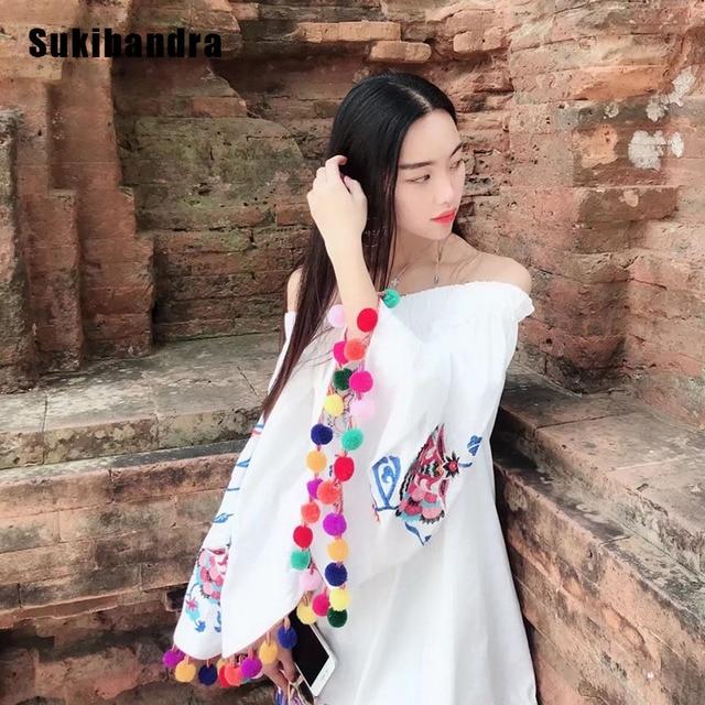 5d3d01f8bd3f7 Sukibandra Summer Off Shoulder Bohemian Embroidery Dress Long Sleeve Women  Embroidered Tassel Boho Dress Beach Short