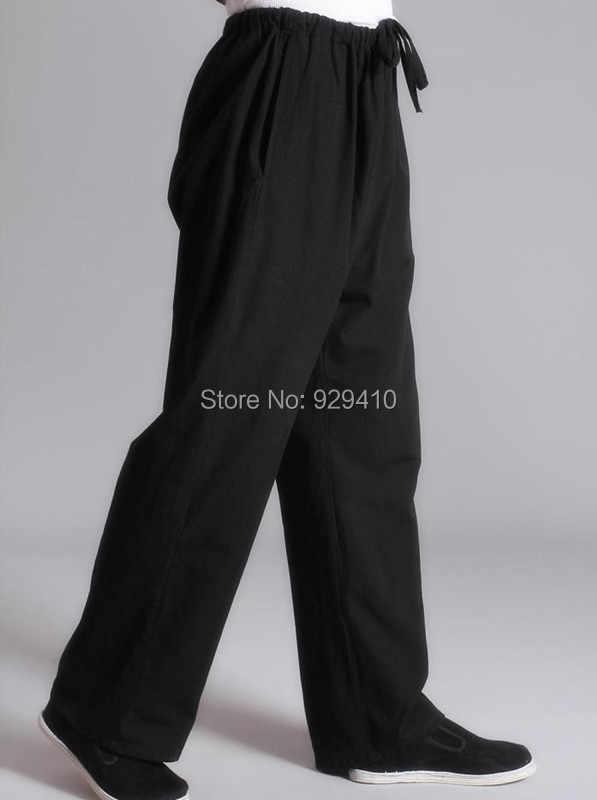 8 色成人男性男性歳粗い綿太極拳武道レジャーパンツ黒/青カンフーの練習パフォーマンスズボン