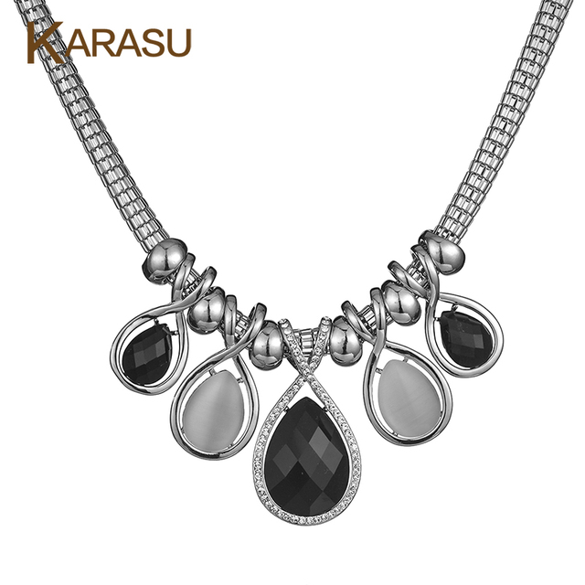 Fashion Real White Gold Filled Water Drop Design Rhinestone/Opal Crystal Pendant Necklaces & Pendants for Women Jewelry Gifts