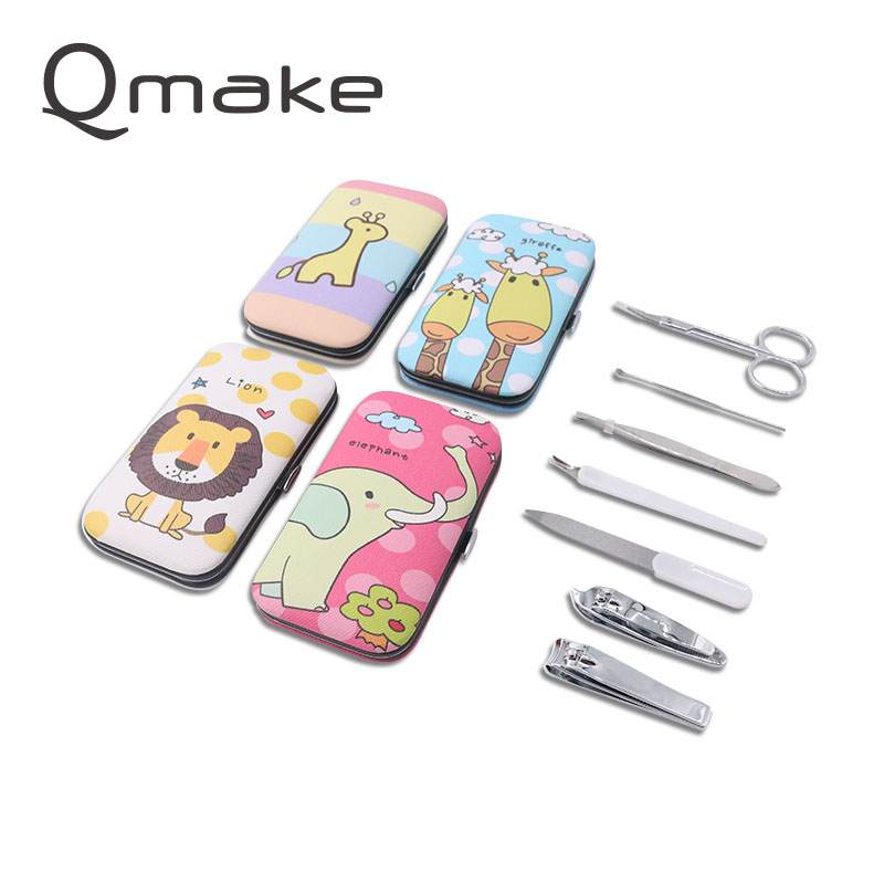 Manicure Tools Set of Nails steel Clipper Scissors Tweezer pedicure Travel kit Cartoon portable beauty Case for toe and finger