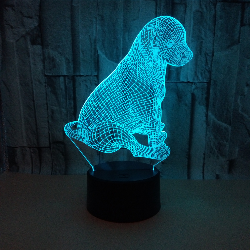 Newest Labrador Dog 3D Led Night Light Dog Doggy Glow RGB Color Desk Table Lamp Cartoon Figure Remote Control Kid Christmas Gift beiaidi 7 color usb rechargeable rabbit led night light dimmable animal cartoon light with remote baby kids christmas gift lamp
