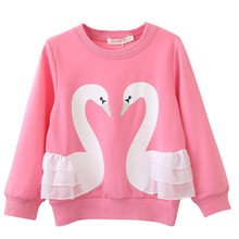 Autumn Hoodies for Girls Clothes Child Sweatshirt 3d Swan Baby Girls Cotton Long Sleeve T-shirt Tops Children Casual Clothing все цены