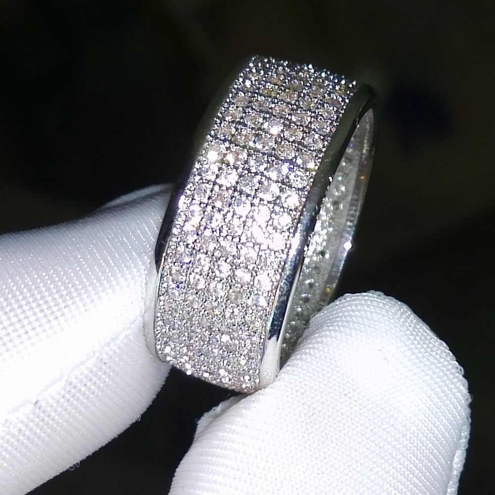 Choucong anneau rond 250 pièces 5A Zircon pierre 10KT or blanc anneau rempli ensemble Sz 5-11 livraison gratuite