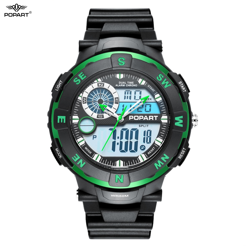 POPART Outdoor Sport Watches For Men Waterproof Electronic LED Digital Quartz Watch Dual Display Wristwatches Relogio Masculino