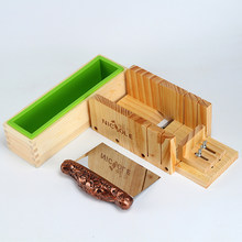 Nicole Soap Making Set Silicone Loaf Mold with Wooden Cutter Box and Stainless Steel Blade DIY Handmade Tools(China)