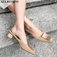 ALLBITEFO high quality genuine leather thick heel paty women shoes brand women high heel shoes office ladies shoes women sandals