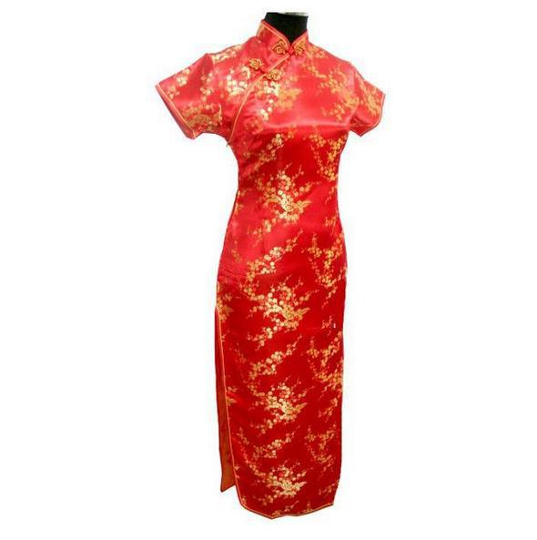 Новинка, длинное атласное женское платье чонсам, элегантное тонкое платье с высоким разрезом, традиционное платье ручной работы с пуговицами и цветами, Qipao, с коротким рукавом, Vestidos - Цвет: Flower 8