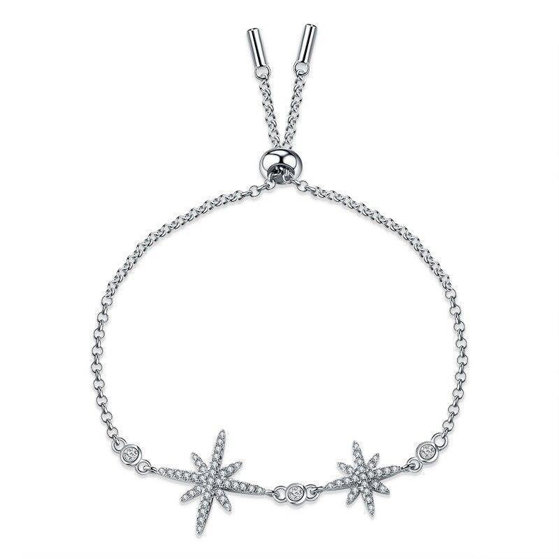 Top Quality Star Bracelet & Bangle for Women Brilliant CZ Siver Color Jewelry Pulseira Feminina ZK40