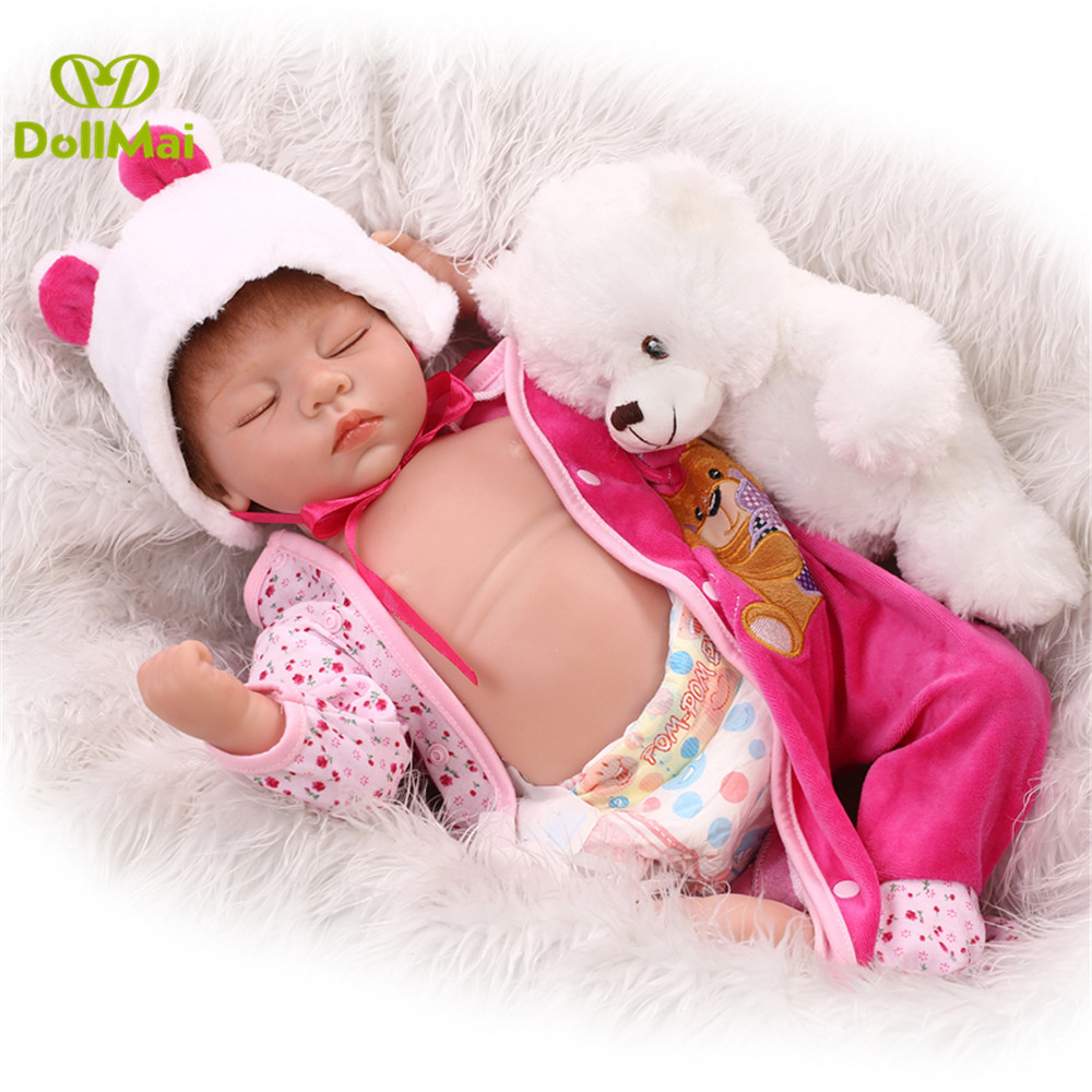 22inch 55cm bebes reborn silicone reborn baby dolls real sleeping newborn baby alive doll with bear plush vinyl belly22inch 55cm bebes reborn silicone reborn baby dolls real sleeping newborn baby alive doll with bear plush vinyl belly