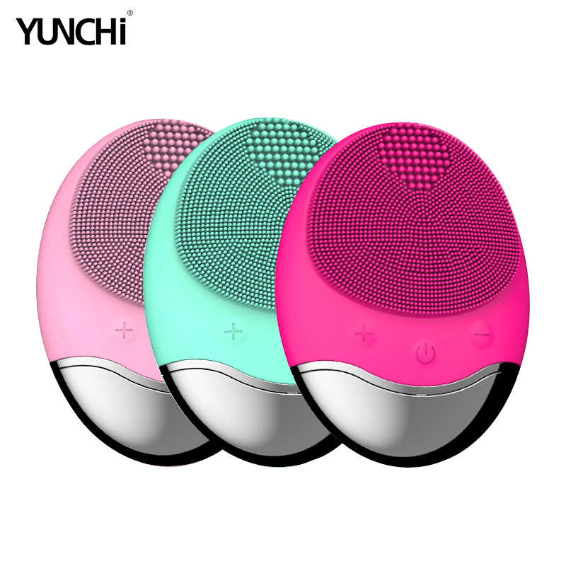 Electric Facial Cleaning Brush Bamboo Silicone Brush Sonic Vibration Essence Importer Face Clean Care Device Inductive Charging