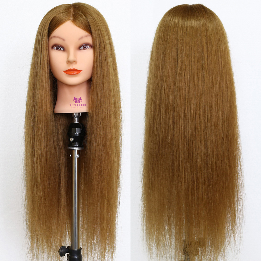 """28"""" 70CM Long Blonde 90% Real Hair Doll Training Head For Curling Hairstyles Professional Salon Hairdresser Mannequin Heads"""