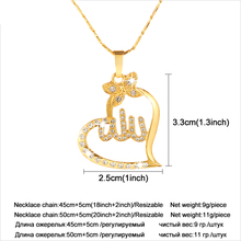Arabic Women Gold-color Muslim Islamic God Allah Charm Pendant Necklace Jewelry Ramadan Gift Copper Chain Necklace