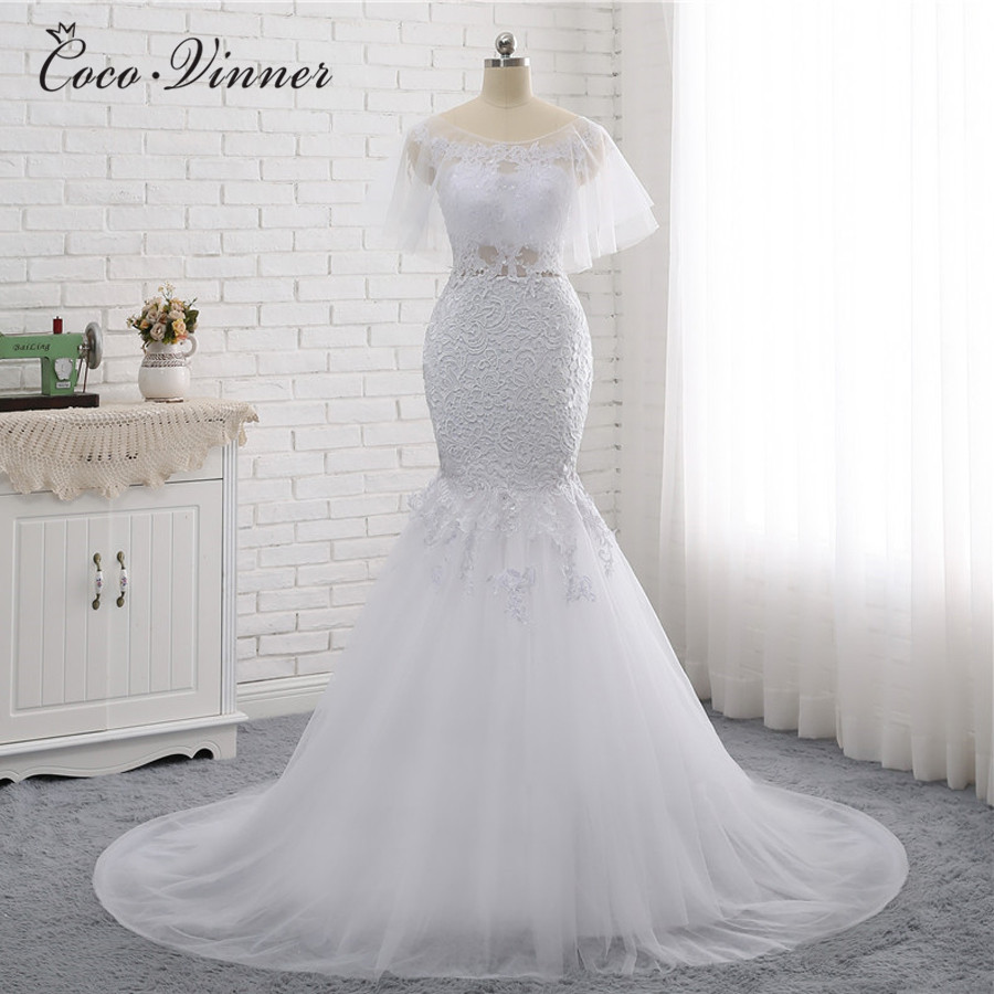 C.V Sexy Backless With Wrap Europe Mermaid Wedding Dresses 2019 Sleeveless  Ivory White Color Plus Size 60edf2f9e3ee