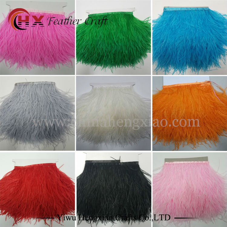 2yards/lots Muticolor Long Ostrich Feather Plumes Fringe trim 10-15cm Feather Boa Stripe for Party Clothing Accessories Craft