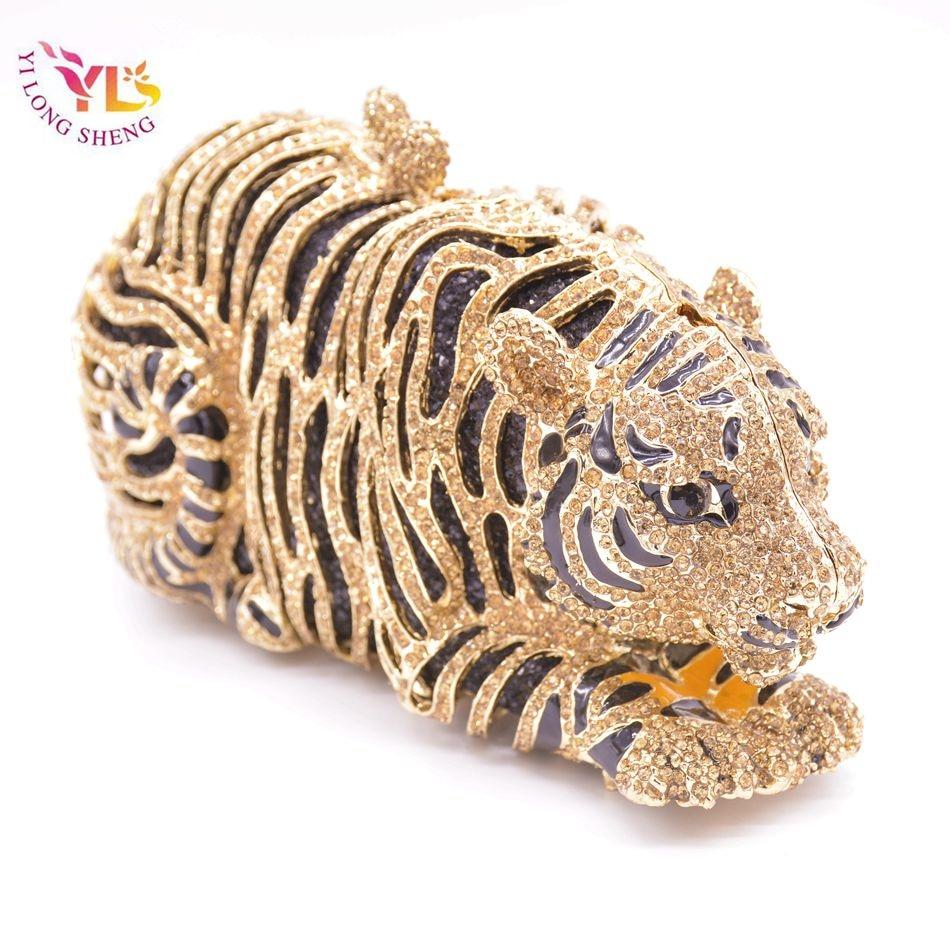 Tigre cristal sac à main femmes fou Animal en forme de sac à main spécial Occassion main embrayage sac à main YLS-A04