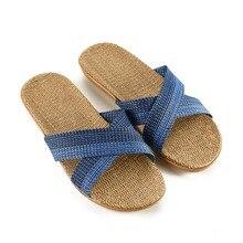 купить 2019 New Summer Men blue Flax Flip Flop Canvas Linen Non-Slip Designer Flat Sandals Home Slippers Man Fashion Slides Straw Shoe дешево