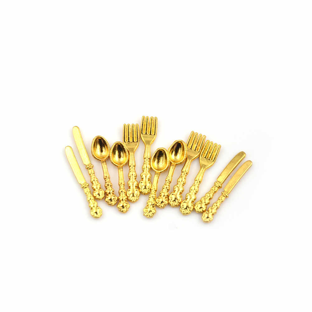 1:12 ini Vintage Dollhouse Miniatures Tableware Cutlery Gold Silver Knife Fork Spoon Childrens Toy Doll House Decor