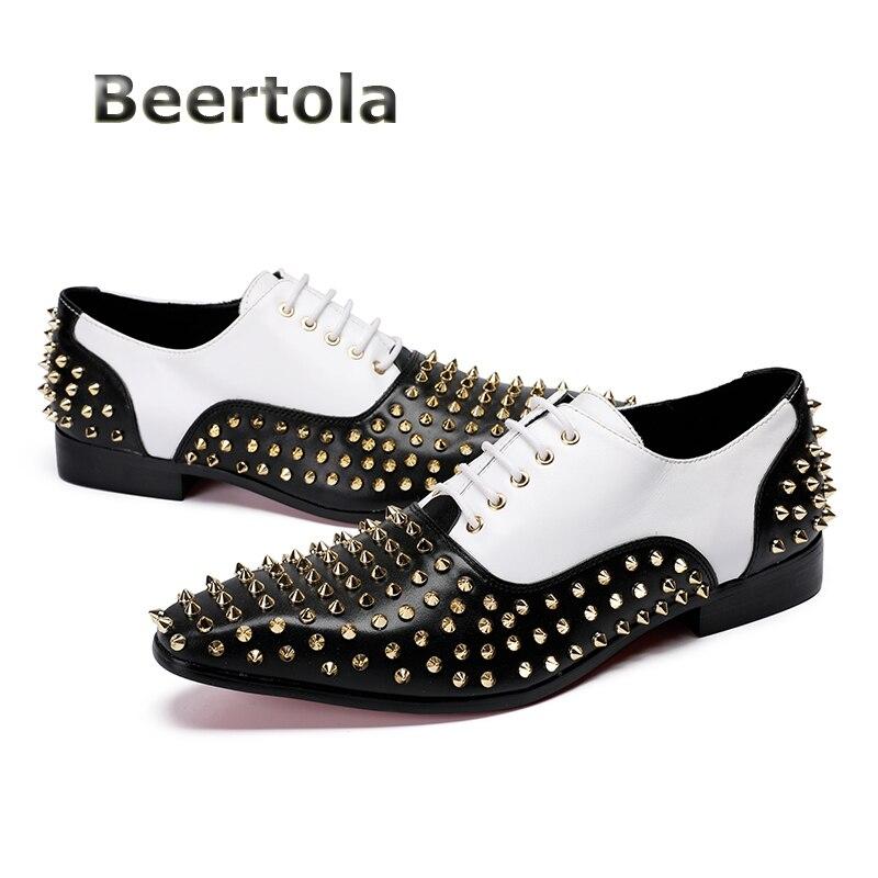 Hombre Casual Para Remaches Mocasines Negro Y Diseñador Beertola Zapatos As Cuero Blanco Calzado Moda Shown Oxford Mens 2018 wPEPqIt