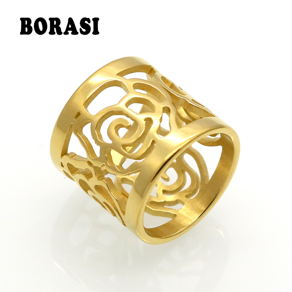 Mopera New Arrival Toppkvalitet Rose Flower Hollowing Craft Guldfärg Ring Fashion Märke Smycken Rostfritt Stål Ring Wholesale