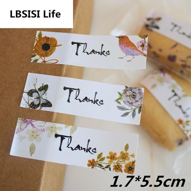 108pcs 1 7x5 5cm Flower Bird Thanks Sticker Cookie Cake Candy Bag Labels Creative Paper