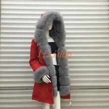 где купить 2018 Real fur coat fox parkas winter jacket coat women parka big real raccoon fur collar natural fox fur liner long outerwear по лучшей цене