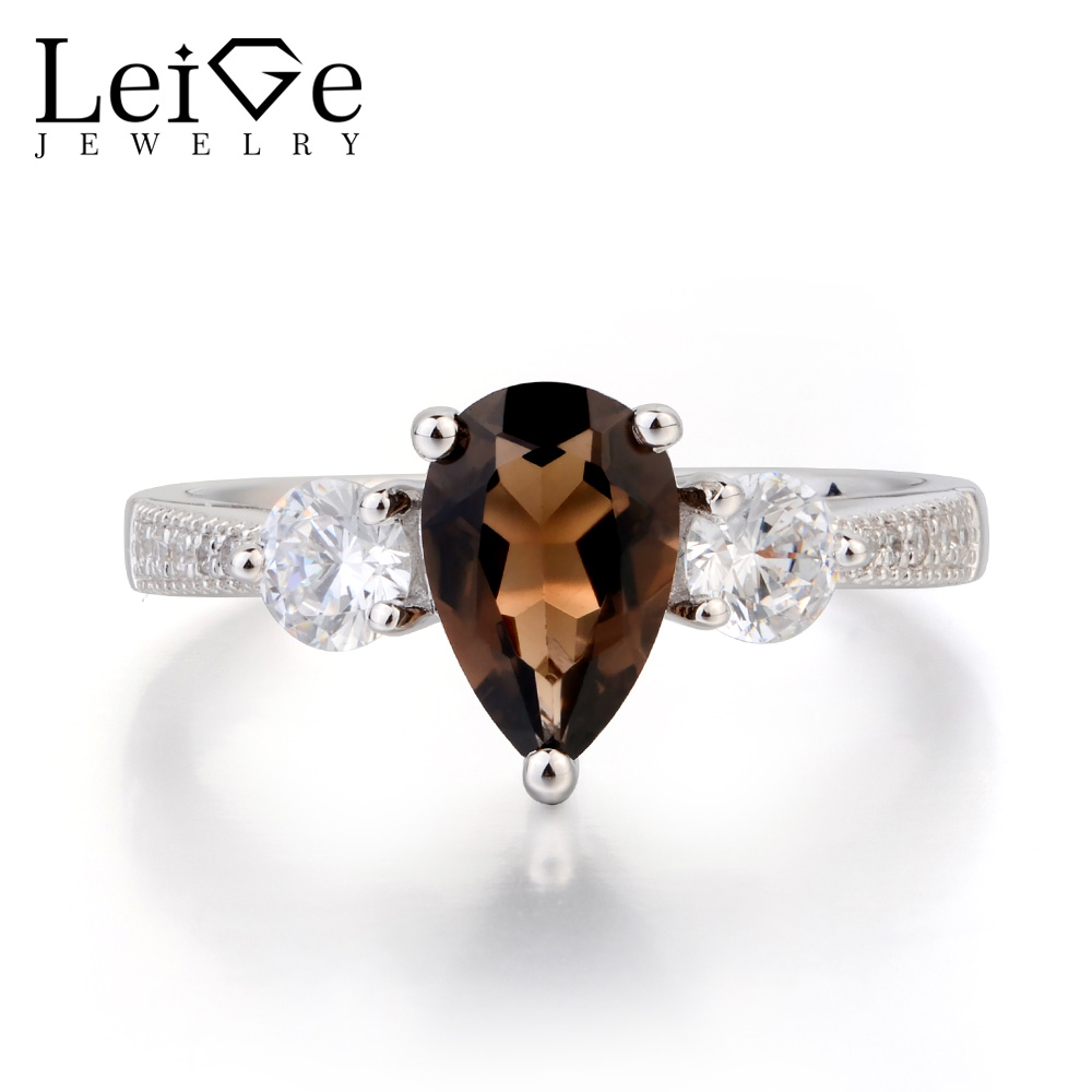 Leige Jewelry Natural Smoky Quartz Ring Anniversary Ring Pear Cut Brown Gemstone Solid 925 Sterling Silver Ring Gifts for WomenLeige Jewelry Natural Smoky Quartz Ring Anniversary Ring Pear Cut Brown Gemstone Solid 925 Sterling Silver Ring Gifts for Women