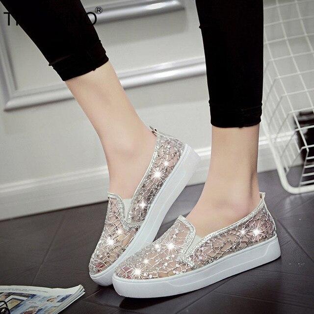 TINO KINO Mulheres Malha Lace Bling Vulcanizada Senhoras Deslizamento Na Plataforma Plana Sapatos Moda Feminina Sapatos de Conforto Respirável Calçado