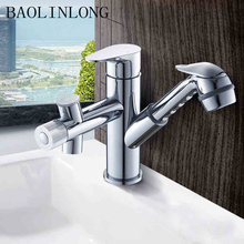 Adjustable Brass Deck Mount Bathroom Faucet Basin Vanity Vessel Sinks Mixer Tap Pull Out Faucets