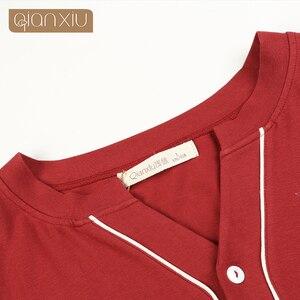 Image 5 - Gecelik Camisón Qianxiu de alta calidad para mujer, ropa de dormir informal de manga larga para hombre, ropa para casa, 1537