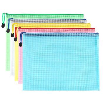 10 pcs/lot Pen bags Gridding Waterproof Zip Bag Document Pen Filing Products Pocket Folder Office & School Supplies Plastic Bag 1