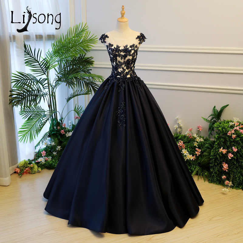 1dd514f92b688 Detail Feedback Questions about Dark Navy Blue Embroidery Prom ...