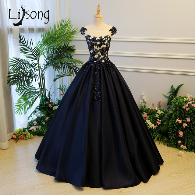 75abe73ee7d Dark Navy Blue Embroidery Prom Dresses 2018 Crystal Beaded Long Prom Gowns  Abiye Plus Size Puffy Ball Gowns Vestido Longo