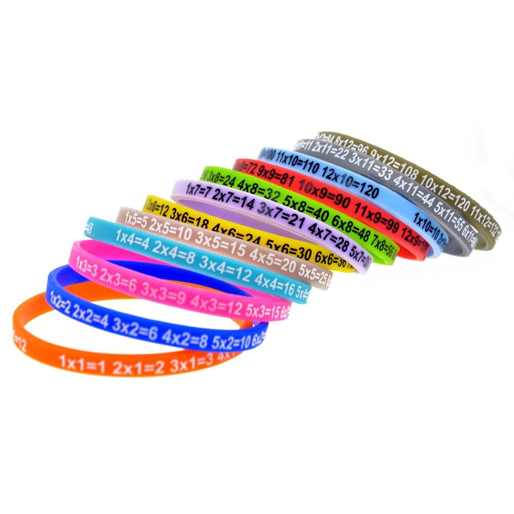 OneBandaHouse 120PCS Lot Multiplication Tables Wristband Skinny Silicone Bracelet for Student