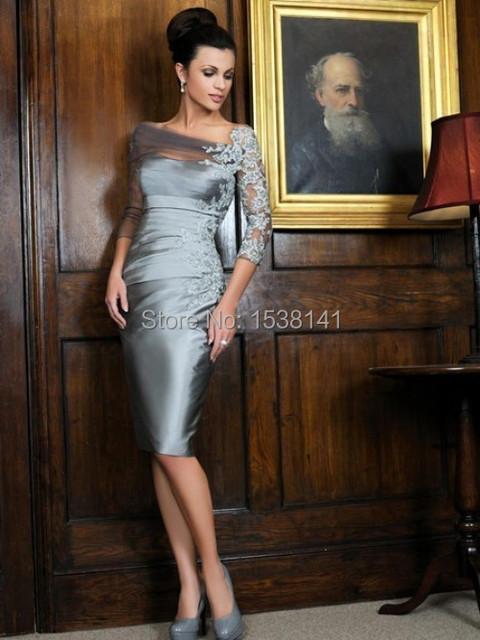 Formal vestido 3/4 na altura do joelho de cetim curto mãe da noiva vestidos