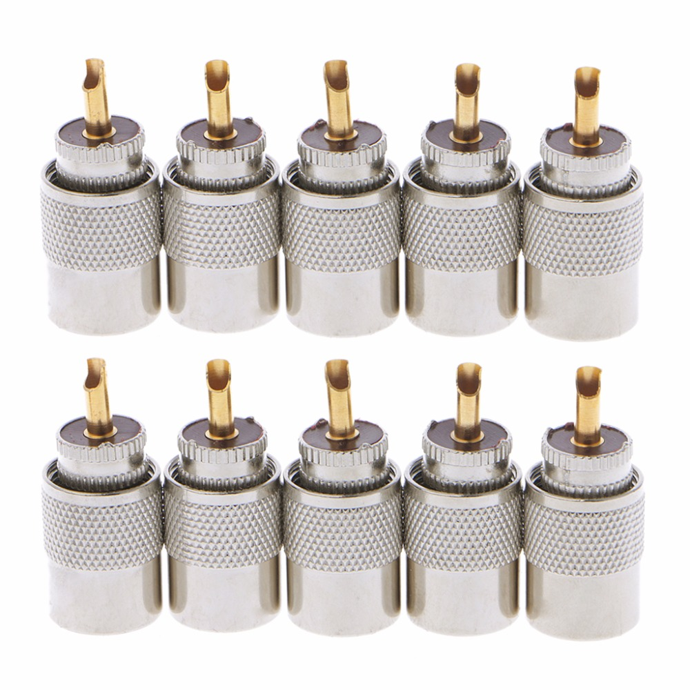 10 Pcs UHF PL-259 Male Solder RF Connector Plugs For RG8X Coaxial Coax Cable