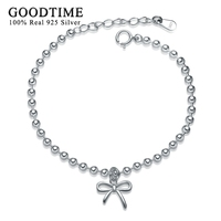 GoodTime Real Solid 925 Sterling Silver Butterfly Bowkbot Pendant Charm Bracelets For Women Pure Silver 925