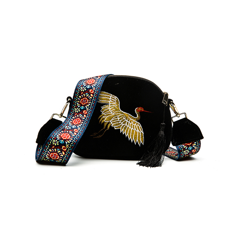 WITFLASH Fashion Mini Embroidery Velvet Shell Bag Wide Strap Shoulder Bags Designer Tassel Vintage Crossbody Bag Small