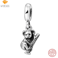 WYBEADS 925 Sterling Silver Charms Cute Small Bear Pendant European Beads Fit Snake Chain Bracelet Original
