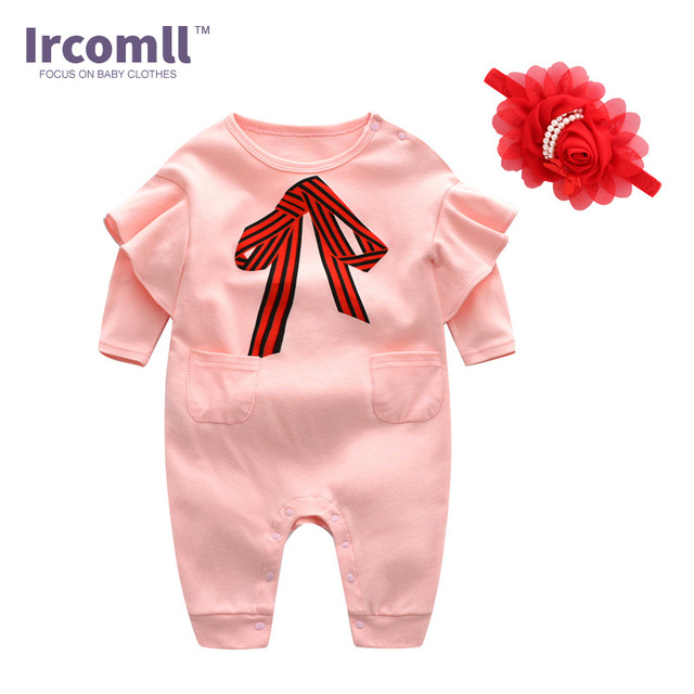 67c5e73e0 New Fashion Ircomll Spring Baby Rompers For Girls Lucky Child Pink Floral  Girls Suit Baby Girl Clothes Toddle Body Suits Outwear