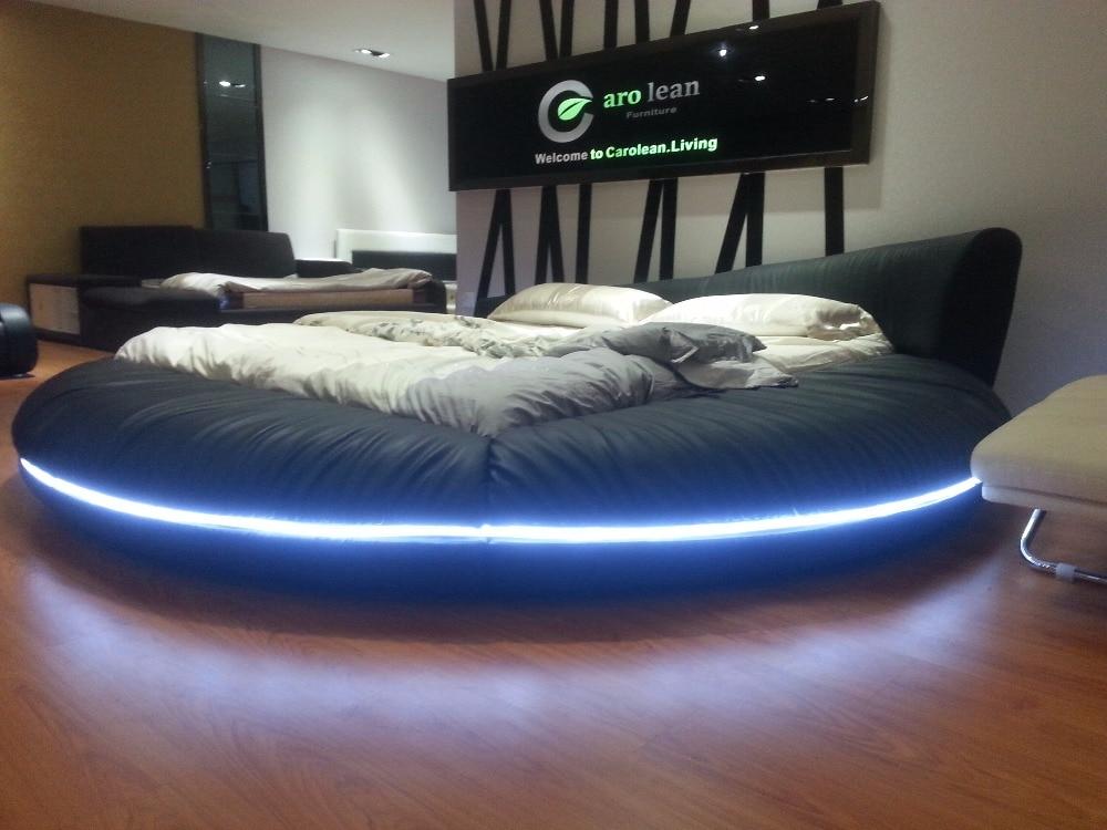 Cama redonda de lujo extra grande, cama suave de cuero de grano - Mueble - foto 2