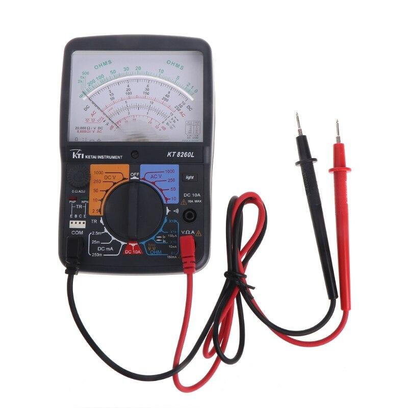 KT8260L Analog Multimeter ACV/DCV/DCA/Electric Ohm Resistance Tester w/ Test Pen