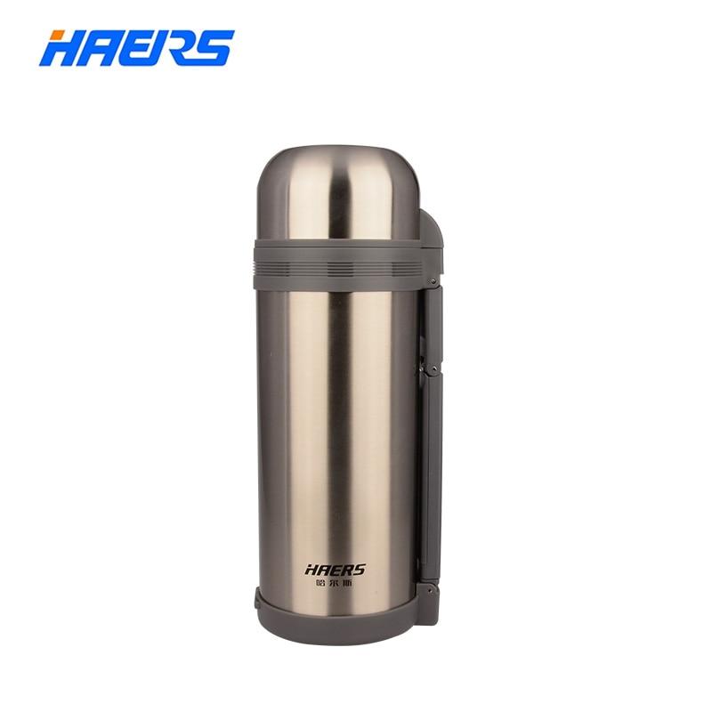 Haers 1200ML 1500ML 1800ML الترمس واسع الفم مع قبضة اليد فراغ زجاجة مزدوجة الفولاذ المقاوم للصدأ الترمس معزول HG-1200-1