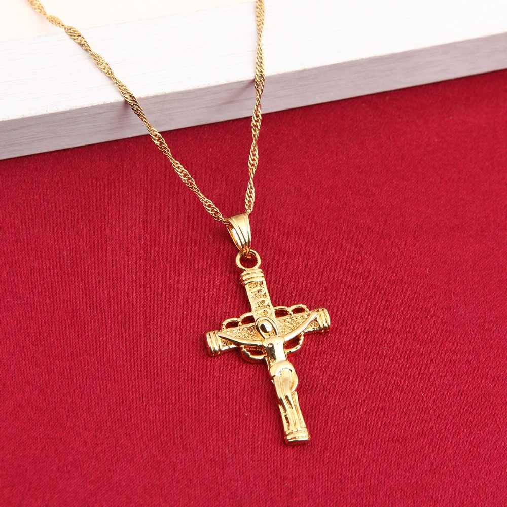 24k Gold Color Orthodox Christianity Church Eternal Cross Pendant Necklace Jewelry Russia Greece Ukraine