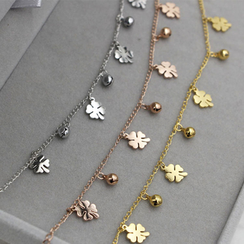 New Arrival Flowers And Bell Anklets For Women Titanium Steel Gold Rose Gold Silver Colors Women Jewelry Anklets Wholesale 4