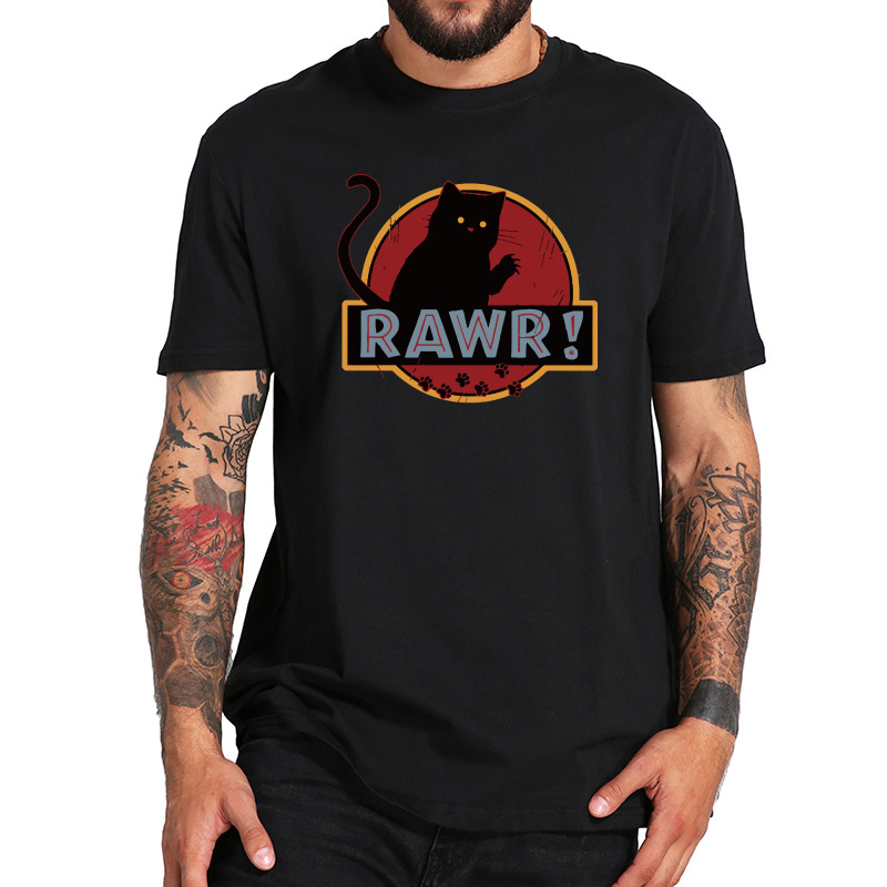Funny   T     shirt   Rawr Cat Cool Tee   Shirt   Homme Cartoon Graphic Black White Clothes Cotton Crew Neck Fitness   T  -  shirt   EU Size