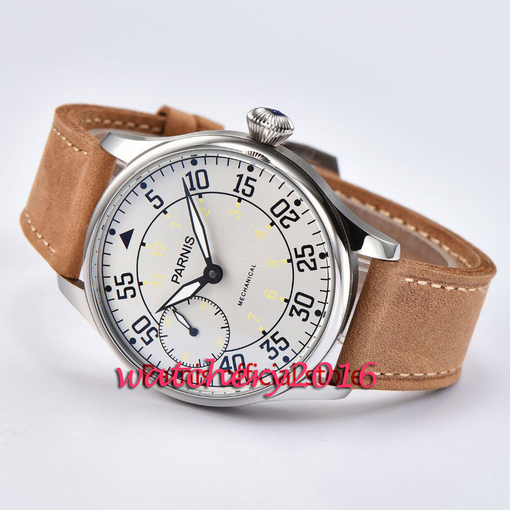 44mm Parnis White Dial SS case Luminous Hands Leather strap 2017 top brand Luxury 6497 hand winding mechanical mens Wristwatch44mm Parnis White Dial SS case Luminous Hands Leather strap 2017 top brand Luxury 6497 hand winding mechanical mens Wristwatch