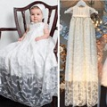 Infant dress long christening gown with lace short sleeves baby girl boy dressed on the special occasion with bonnet