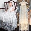 Vestido infantil del vestido largo de bautizo con encaje de manga corta del muchacho del bebé vestido on the ocasión especial con capó